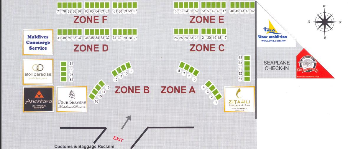 Схема стоек встречающих сторон в аэропорту Мале.